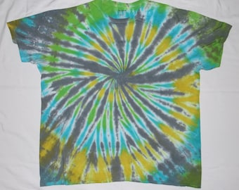 Adult 2XL Gray, Green & Blue Spiral Tie-Dye T-Shirt (Free Shipping!)