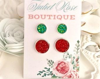 Christmas Earrings, Christmas Earring Set, Red Druzy Studs, Green Druzy Studs, Christmas Stud Earrings, Druzy Studs, For Her, Druzy Stud Set