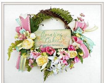 ON SALE Easter Wreath - Amazing Grace Wreath - Religious Easter Wreath - Religious Wreath - Religious Grapevine Wreath - Easter Gift - Sprin