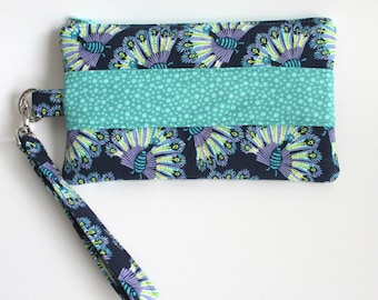 Zippered Wristlet Pouch, Pencil Case, Small Makeup Bag, Storage Pouch, Coin Purse, Cosmetic Pouch, Zippered Bag, Zippered Case, PEACOCK