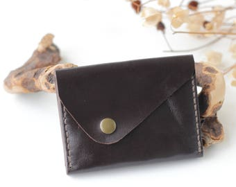 Handmade leather wallet womens wallet slim card wallet leather coin purse brown wallet men leather coin pouch travel wallet  Free gift
