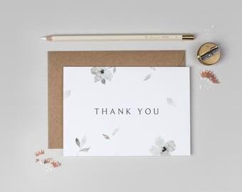 Thank you wedding card, floral thank you wedding card, grey watercolour thank you card, modern thank you card, minimal thank you card
