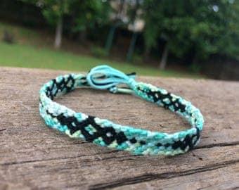 Cyan and Black Diamond Friendship Bracelet