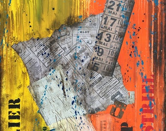 Abstract painting contemporary industrial table