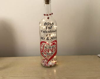 Valentines newly wed quote light bottle,