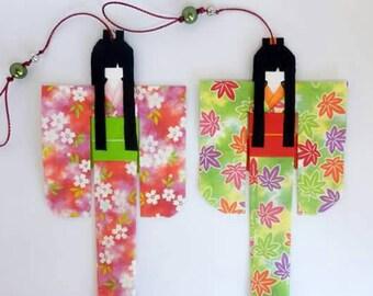 Origami bookmark, segnalibro in origami con kokeshi, decorazioni in origami, bamboline giapponesi