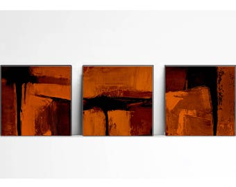 digital image, orange , Print, contemporary art,set of 3 , industrial art decor, wall art abstract, orange and black, tryptich, brown