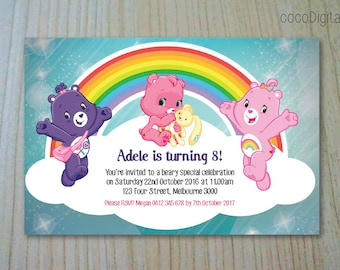 Care Bears Birthday Invitation Custom Personalised Printable Girl Any Age 1st 2nd 3rd 4th 5th Birthday Party Supplies