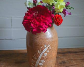 Ceramic Vase with White Fern Motif