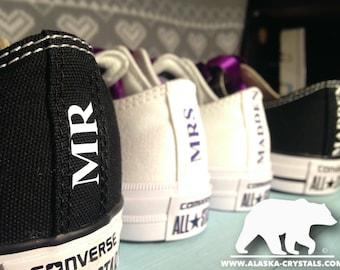 Custom converse, His and Hers converse, Personalized Converse, Wedding converse, Matching converse, Swarovski converse, Bridal converse