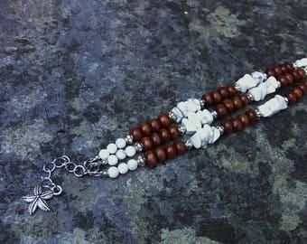 bohemian bracelet, wooden bracelet, magnesite bracelet, beach bracelet, energy bracelet