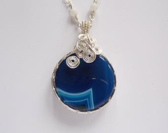 Blue Agate Pendant with a hand made chain