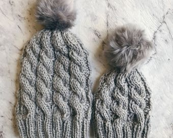You and Me Chunky Knit Beanie Set