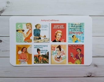 Vintage Housewife Full Box Planner Stickers- Perfect For Erin Condren, Happy Planner, Calendar