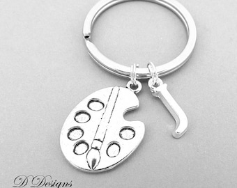 Paint Palette KeyRing, Artist KeyChain, Painter Key Chain, Artist key ring, Personalised Paint Palette Key chain, Artist Gifts,