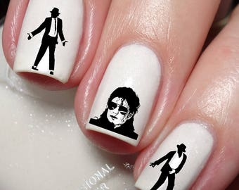 Michael jackson etsy michael jackson nail art sticker water transfer decal wrap 138 prinsesfo Gallery