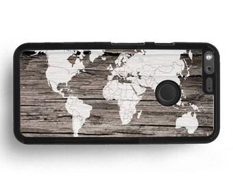Pixel 2 XL Case, Pixel 2 White World Map Elm Wood Print Case, For Google HTC Pixel XL Brown Wooden Pattern, Google Nexus 6 5 4 Cover
