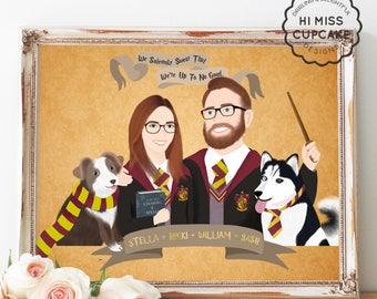 Custom Portrait Movie Theme // Harry Potter Newly Wed // Harry Potter Custom Illustration Portrait // Personalized Cartoon Family Portrait