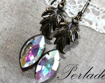 Vintage Style Earrings, Antique Bronze, AB Crystal Swarovski Earrings