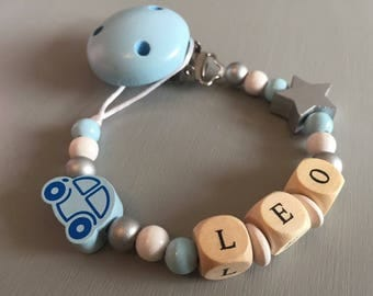 Pacifier clip-pacifier beads made of wood with the name Leo