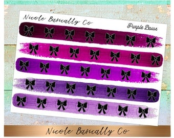 Bow Icons in Purple Paint Stroke Colors- Planner Stickers