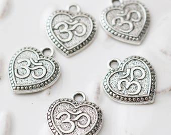 set of 50, om heart charm, yoga charm, buddhist charm, antique silver, metal charm, 22mm x 19mmm, bulk charm, charms wholesale,