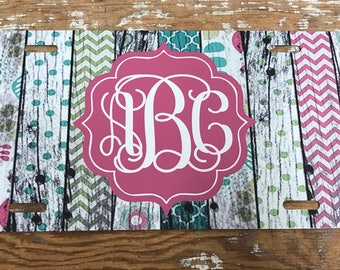 monogram license plate wood look distressed car tag personalized monogrammed