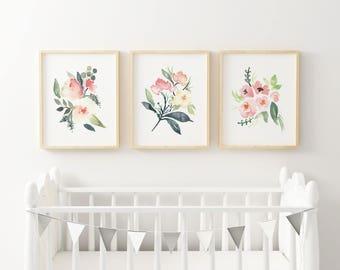 Printable Baby Girl Nursery Set/Watercolor Floral Nursery Wall Art/Floral Nursery Art Set/Watercolor Flower Wall Art/Girl's Room/Pink/Green