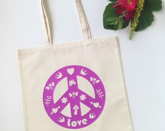 Pink peace bag, Love heart peace dove bee design, Heavyweight tote, Gift for under 15, Peace sign,  Market bag, Heart bag, Girlfriend gift