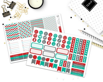 Red and Teal Planner Kit- Weekly Kit- Planner Stickers