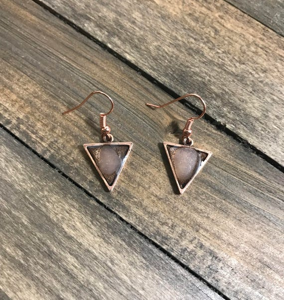 Unique copper triangle earrings with white/clear sea glass embedded on resin