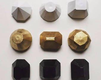 Concrete Diamonds, concrete magnets, Pastels, concrete gems, concrete decor, pastel decor, monochrome decor, pastel decor, kids decor