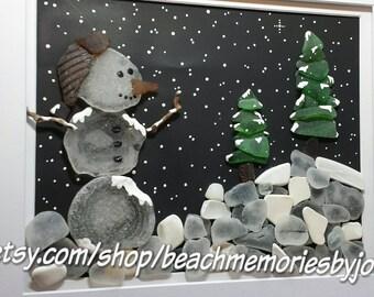 Beach Snowman, beachglass art, seaglass art, beach glass art, sea glass art, Christmas decor, snowman art, lakehouse decor, beachhouse art,