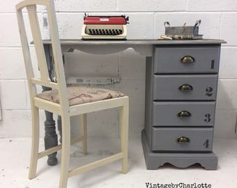 Solid pine childrens desk and chair set hand painted