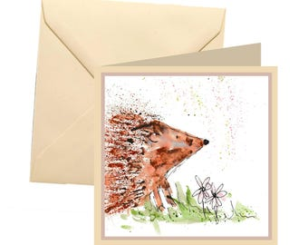 Hedgehog greetings, card blank, card greetings, card, birthday card, hedgehog card, note card, thank you card, hedgehog, wildlife card