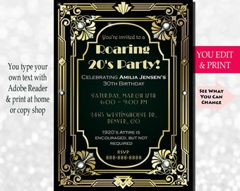 30th Birthday Invitation, Gatsby Invitation, Gatsby Birthday Invitation, Great Gatsby Birthday Invitation, Edit Yourself in Adobe Reader