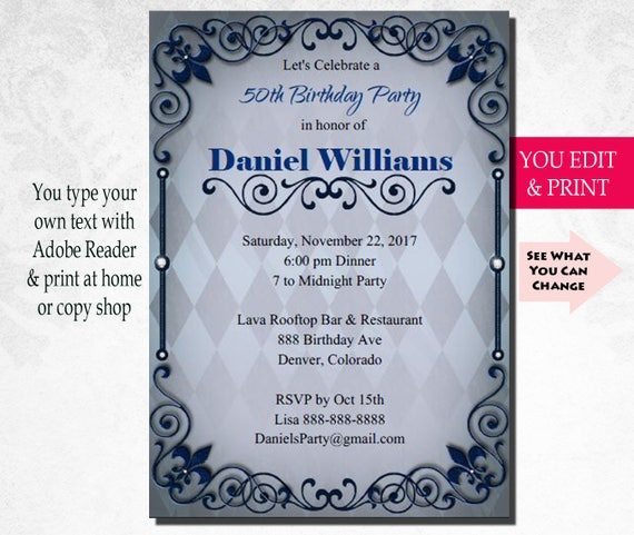 50th Invitation 50th Birthday Invitation 50th Birthday Party