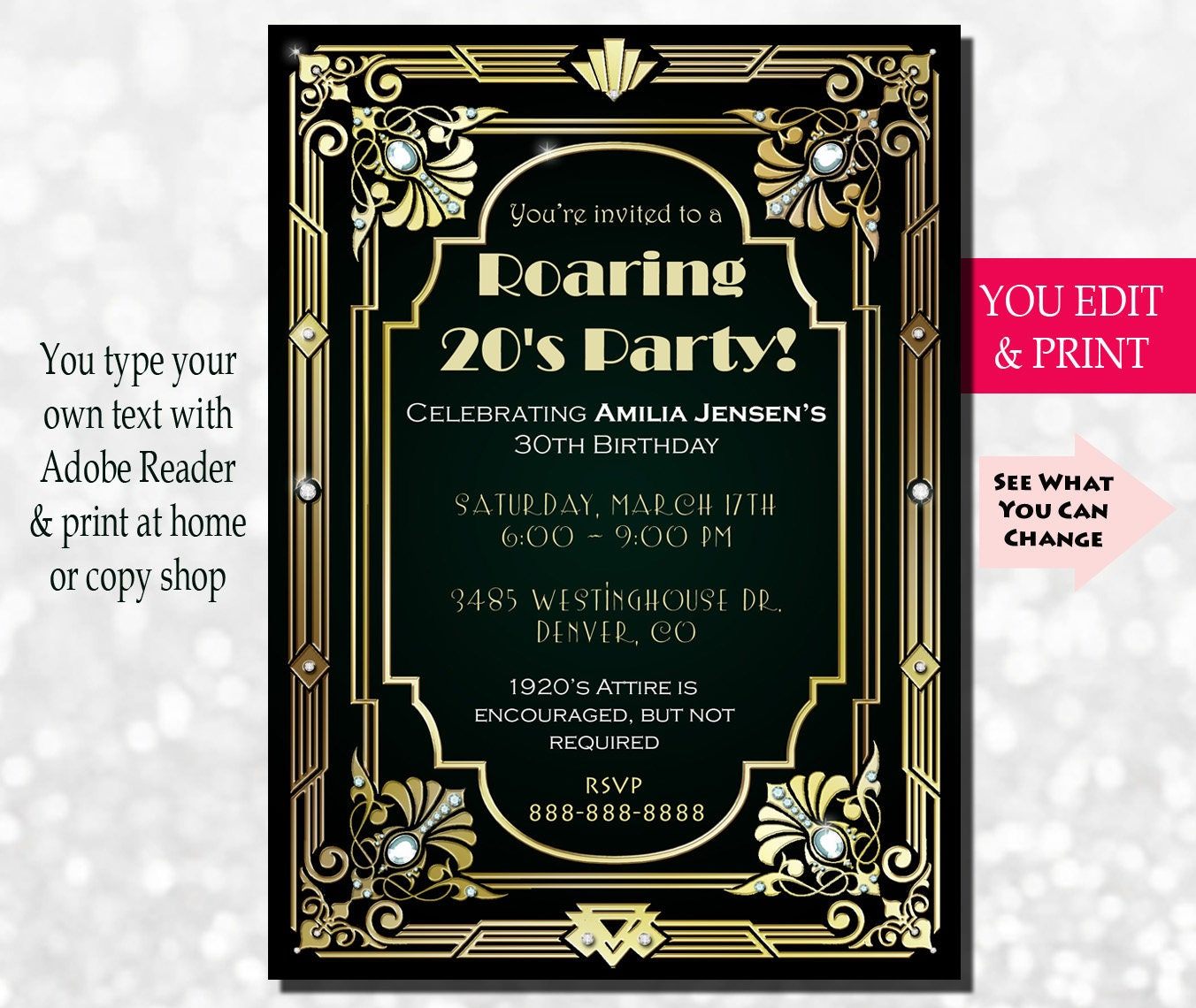 This is an image of Divine Gatsby Party Invitations