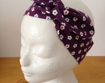 For hair, turban headband, headband purple Japanese fabric