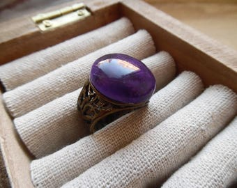 * Haleane * thick antique ring topped with an Amethyst.