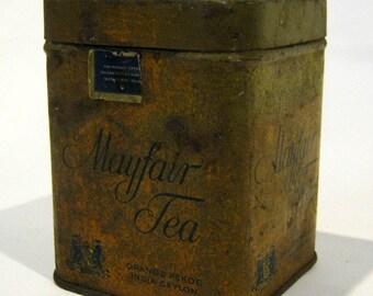Antique Rusty Mayfair Orange Pekoe Tea Tin