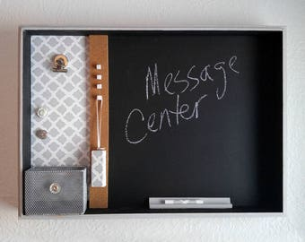 Gray and White Chalk Board, Messge Center, Magnetic, Cork, Magnets