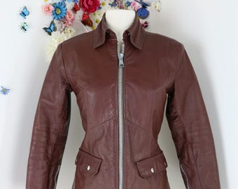 1970s Brown Vintage Leather Biker Jacket - XS/S - Motorcycle Leather Riding Jacket - Zipper Detailing - Quilted Interior - Fall Winter