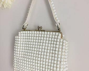 1950s Purse - White Beaded Handbag - Oversized Plastic Beaded Purse - Gold Trim Metal Frame - Snap Closure - Groovy Beaded Vintage Bag