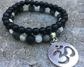 Bracelet, Yoga Bracelet, Om Bracelet, Zen Bracelet, Beaded Bracelet, Stretch Bracelet