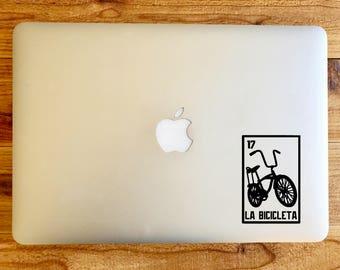 La Bicicleta the bike bicycle lowrider loteria sticker decal for macbook mac laptop
