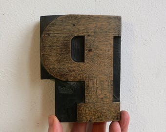 """Wood letterpress P - 4.5/8ths"""" tall - Antique wooden Letterpress Printing block- wood letter  11.5 cm/ CHUNKY industrial rustic  HAND CARVED"""