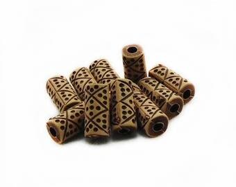 Brown Tube Wood Beads, Tube Wood Beads, Tube Painted Wood Beads, 10pcs Brown Tube Painted Beads, Jewelry Making, Craft Supplies