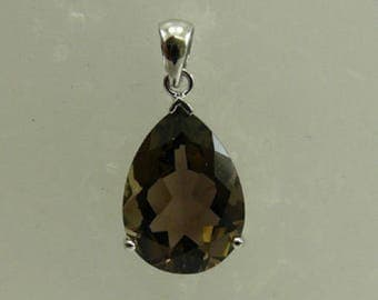 Smokey Topaz Pear Shape Pendant with Sterling Silver Setting