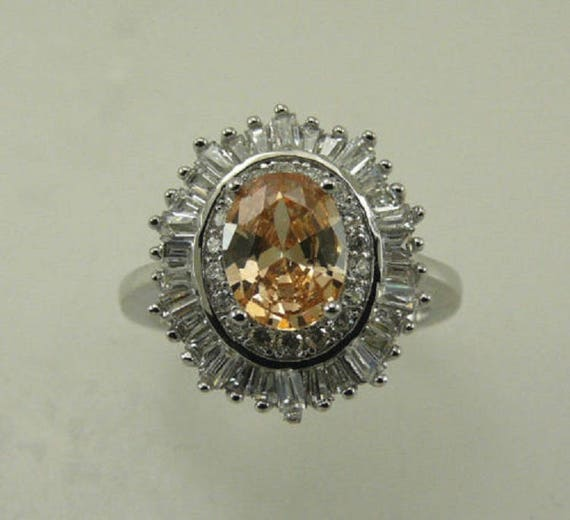 Citrine and Cubic Zirconia Ring with Sterling Silver Setting